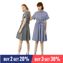 Toyouth 2019 Women Summer Dress Fashion Short Sleeve Plaid Print Turn-down Collar Loose Female Vintage Cotton Dresses