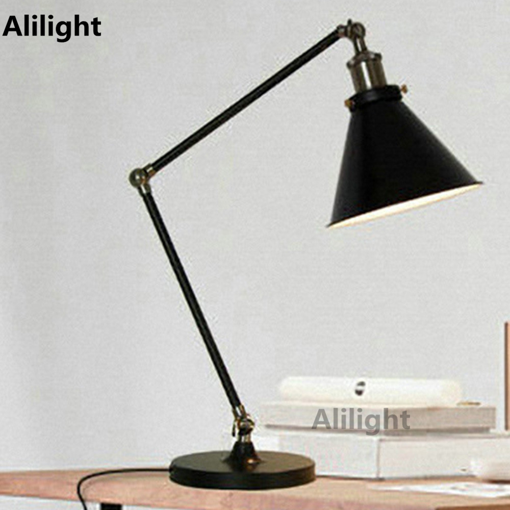 Black iron table lamp - Modern Swing Arm Iron Table Lamps Personalized Classic Black Decorative Desk Book Reading Light E27 Table