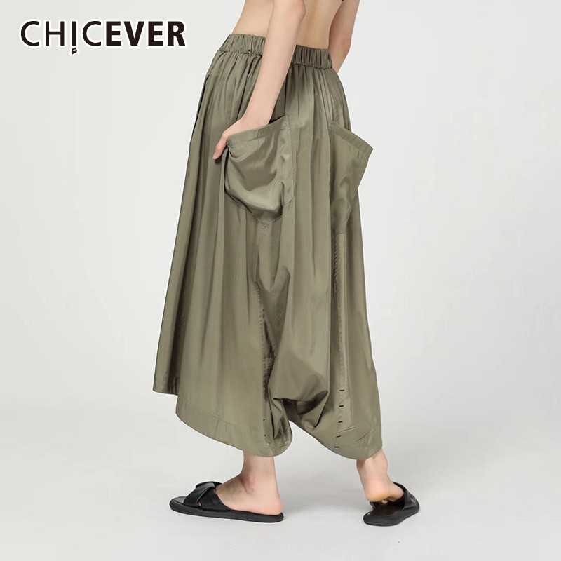 CHICEVER Summer Casual Solid Women   Pant   Elastic Mid Waist Pockets Loose Plus Size Ankle Length   Wide     Leg     Pants   2019 Fashion New