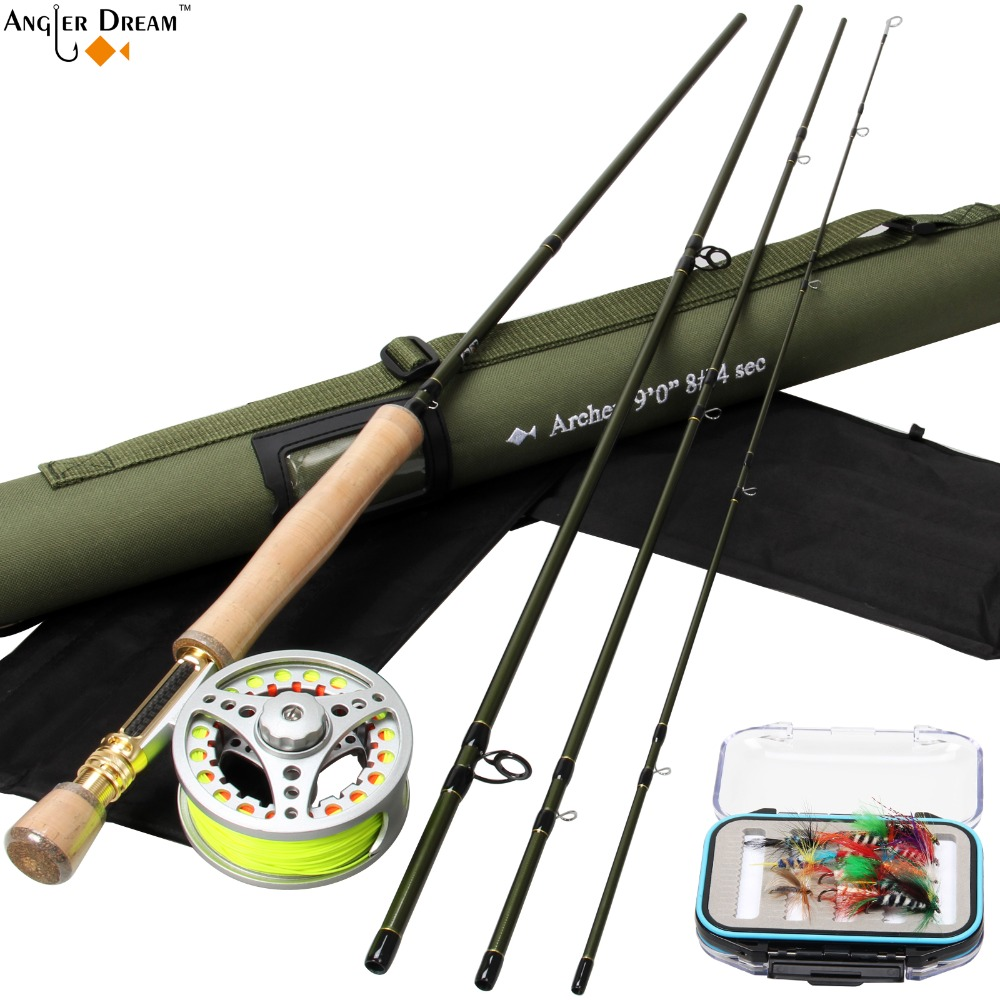 Fly Rod Combo 9FT 8WT Carbon Fiber Fly Fishing Rod 7/8WT Large Arbor Aluminum Fly Reel & Line Backing Leader Flies and Box цена и фото