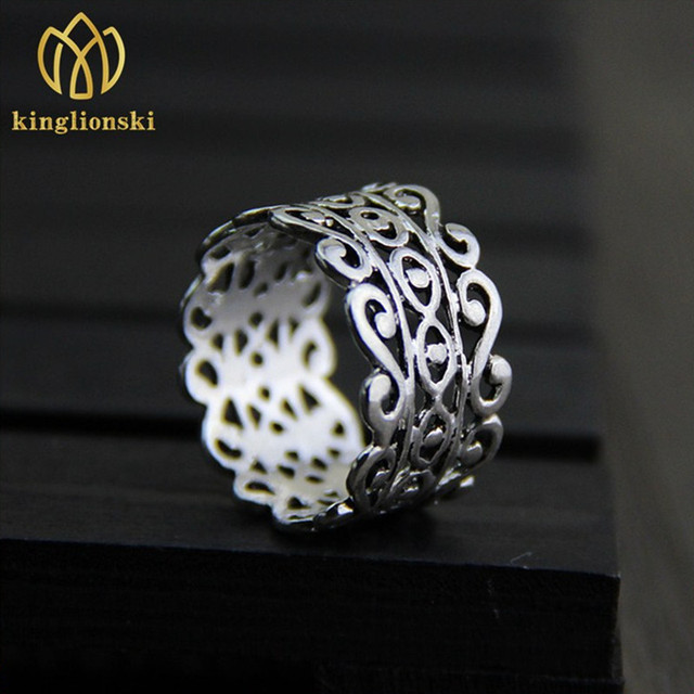 Rings For Women Art Retro Hollow Wide Silver 925 Sterling Wedding Thai Finger