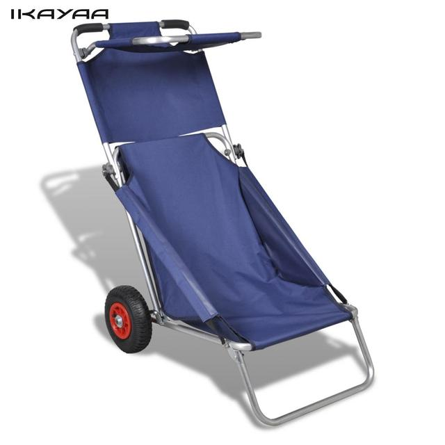beach chair with wheels wingback ikea ikayaa outdoor trolley style 3 in 1 for 80 kg person es stock