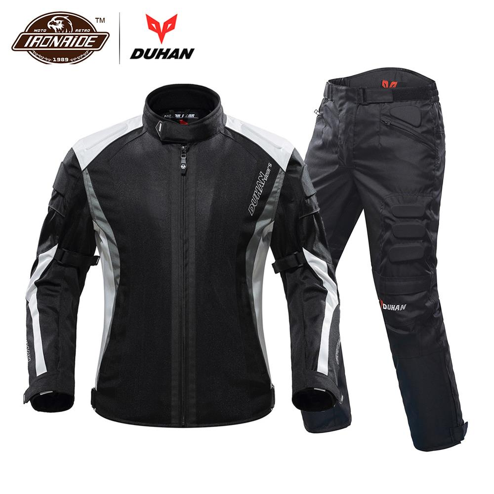 DUHAN 2019 Motorcycle Jacket Men Motorcycle Pants Breathable Motorcycle Suit Chaqueta Moto With Protector for Summer