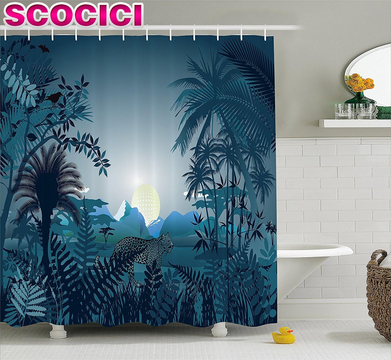 Rainforest shower curtain - Farm House Decor Shower Curtain Night In Rainforest Jungle With Wild Tiger Moon Light Palm Shrubs
