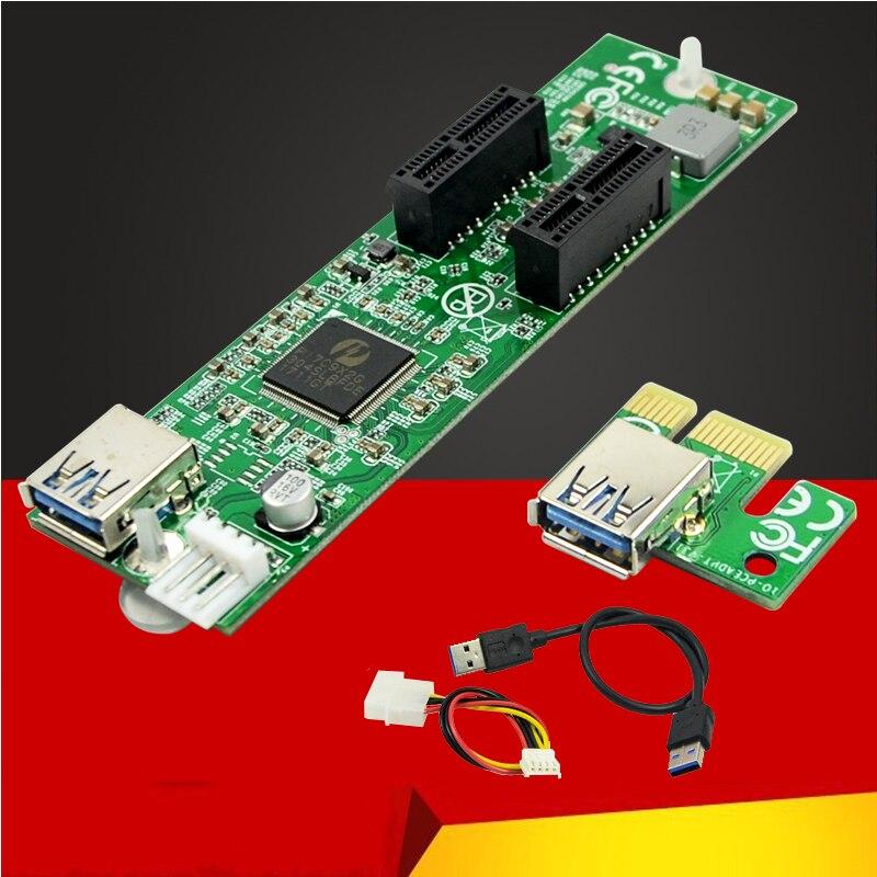 Nouvelle carte d'extension PCI-E 1 à 2 PCIe x1 adaptateur convertisseur de carte Riser USB3.0 câble de données IDE 4pin alimentation pour pc de bureau