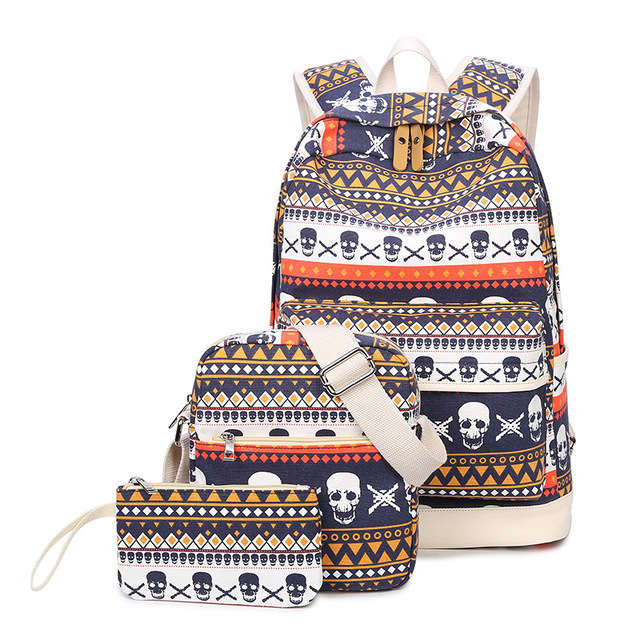 Printing Women Geometric Backpack Skull Canvas Bookbags Set Backpack School Bags for Teenage Girls 1