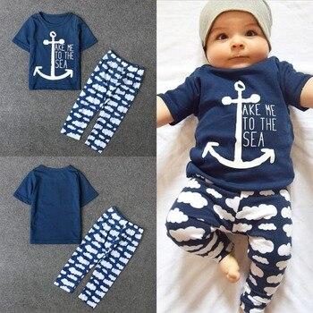 Puseky Navy Sailor Baby Boys Clothes Sets Anchor Short Sleeve Letter Printing T Shirt Clouds Long Pants 2 Pcs Newborn Girl Cloth