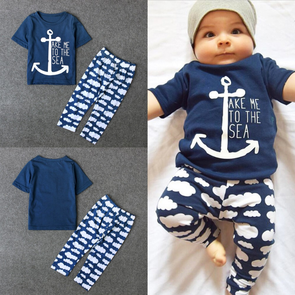 Puseky Navy Sailor Baby Boys Clothes Sets Sailor Short Sleeve Letter Printing T Shirt Clouds Long Pants 2 Pcs Newborn Girl Cloth wholesale 160g set 60 platinum blonde 7a real hair brazilian clips in extensions real straight full head high quality