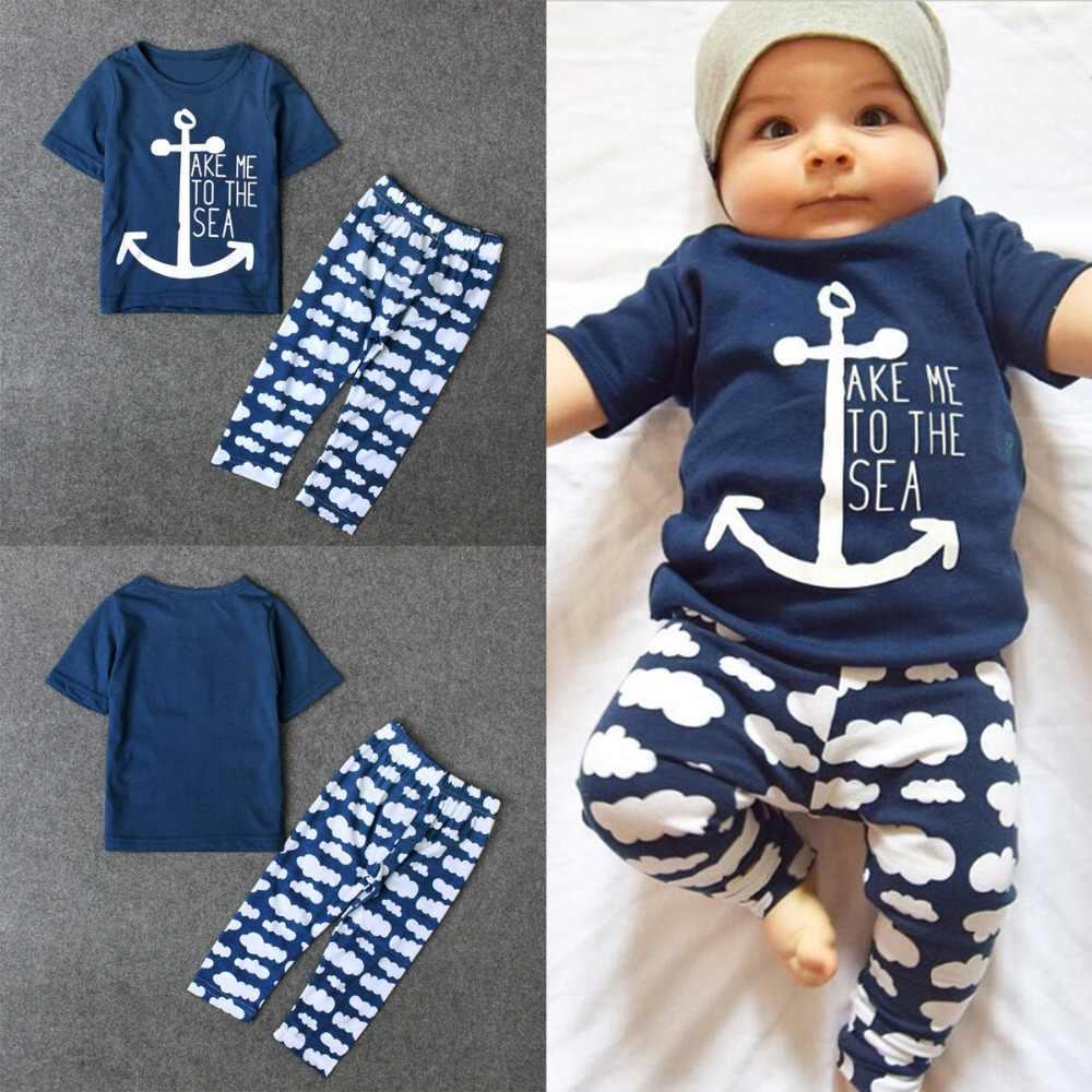 Puseky матрос Комплект одежды для маленьких мальчиков матрос короткий рукав письмо футболка с принтом облака длинные штаны 2 предмета для новорожденных девочек ткань
