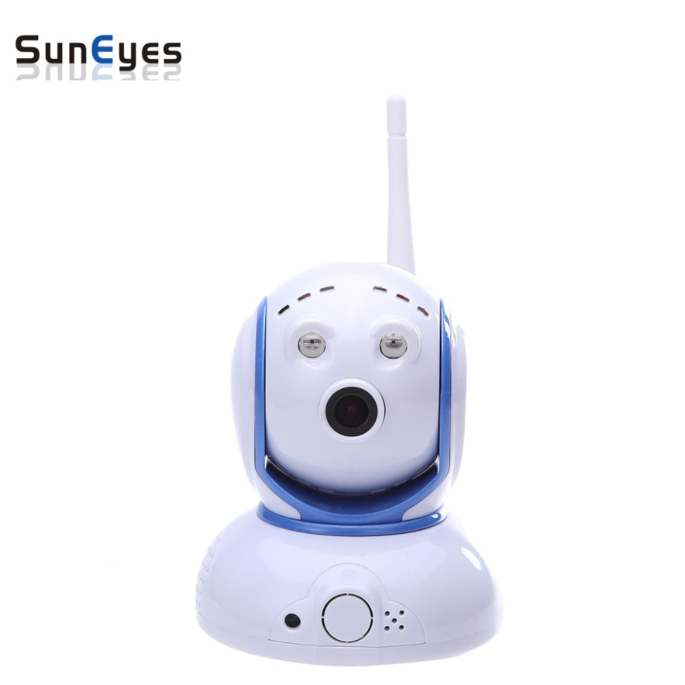 SunEyes SP-P905W Mini Robot Pan Tilt Wireless IP Camera 960P 1.3MP HD Low Lux with Micro SD Slot and Two Way Audio ONVIF RTSP suneyes sp v702w 720p hd mini dome ip camera outdoor wireless wifi weatherproof onvif and rtsp with free p2p metal alloy case