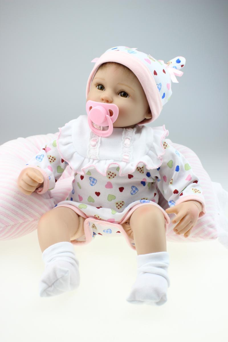 Nicery 18inch 45cm Lifelike Reborn Baby Doll Soft Silicone Gifts for Child Lovely Toy Dolls Christmas Present White Hat Doll 18 inch soft american girl dolls princess doll 45 cm lovely lifelike baby toys for children present