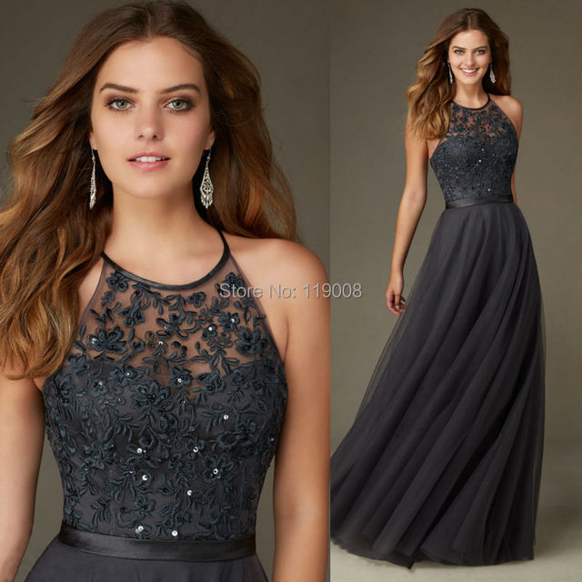 2016 New Arrival Wedding Party Dress Floor Length Halter Tulle Lace Dark Gray Bridesmaid Dresses Abito
