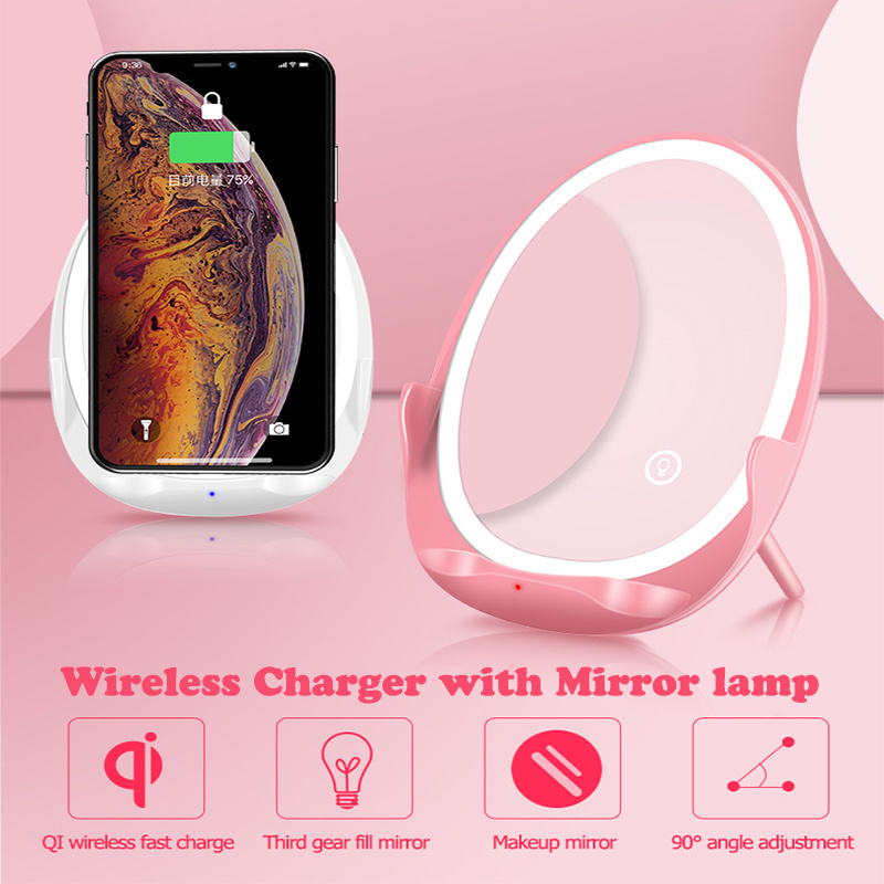 Qi Fast Wireless Charger Fast Wireless Charger for iphone Xiaomi Mi 9 Mobile Phone Wireless Charger with Mirror Lamp Girl Makeup
