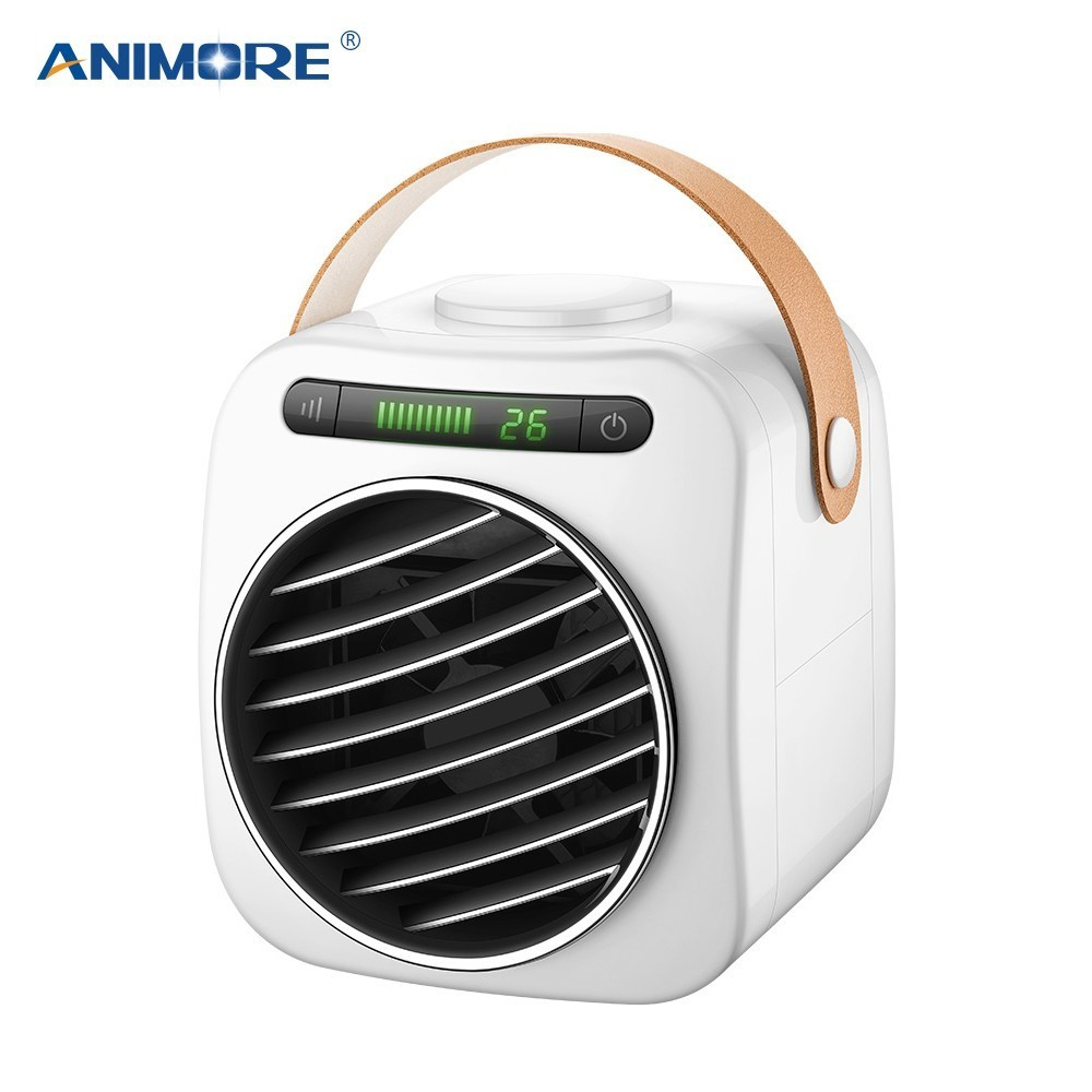 ANIMORE Portable Air Conditioner Led Digital Display Temperature Humidifier Purifier Desktop Home Air Cooling Mini USB Fan
