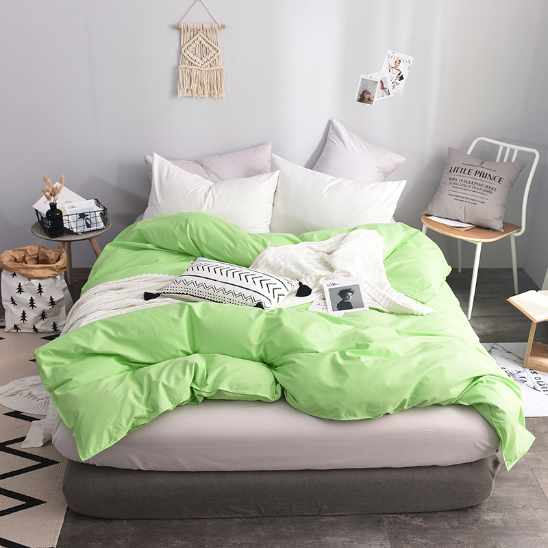 Emerald Solid Color Single Duvet Cover King Size 200X240cm 100% Cotton Comforter Blanket Cover For Husband And Wife Bedding Soft