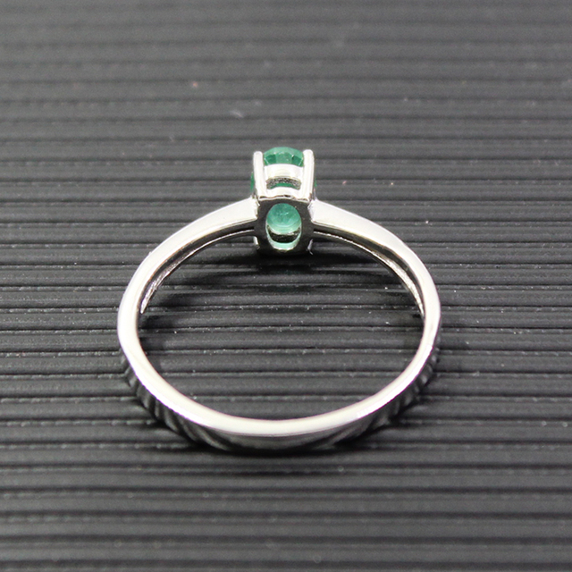 Promotion natural emerald wedding ring for woman 0.4 ct 4mm*6mm natural I grade emerald solid 925 silver emerald gemstone ring