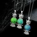 10 PÇS/LOTE Atacado Brilham No Escuro Animal Bonito Da Coruja Oco Pingente Luminescente Brilhante Para As Mulheres de Jóias Colares & Pingentes