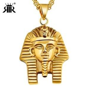 Ожерелье с подвеской RIR Egyptian Akhnaton Pharaoh, из нержавеющей стали, в стиле «Africa King», «Tutankhamun», «хип-хоп»