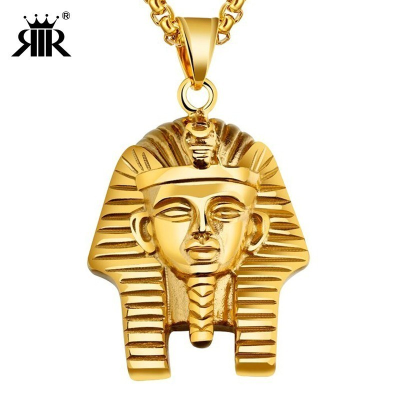 RIR Egyptian Akhnaton Pharaoh Pendant Necklace In Stainless Steel Africa King Jewelry Charm Tutankhamun Hip Hop Jewellery