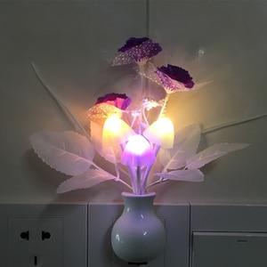Image 4 - الولايات المتحدة رومانسية LED ضوء الليل الاستشعار المكونات في الجدار مصباح إضاءة المنزل الفطر الفطر ضوء ملون