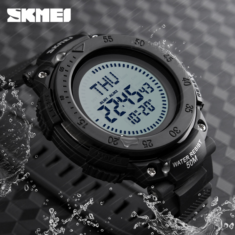 SKMEI Compass Watch Military Outdoor Sports Watches Men Waterproof Electronic LED Digital Watch Luxury Man Watches Clock Men outdoor sports watches men skmei brand countdown led men s digital watch altimeter pressure compass thermometer reloj hombre