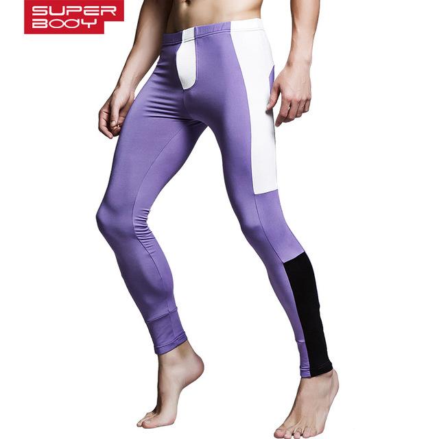 2017 poliéster transpirable elástico cepillado caliente delgada de cachemira térmica thermo underwear gay underwear hombres largos calzoncillos johns