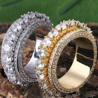 Full Size 7 11 Engagement Wedding Ring For Men Women 5 Row Rotatable Iced Out Hip Hop CZ Eternity Band Rock Rings