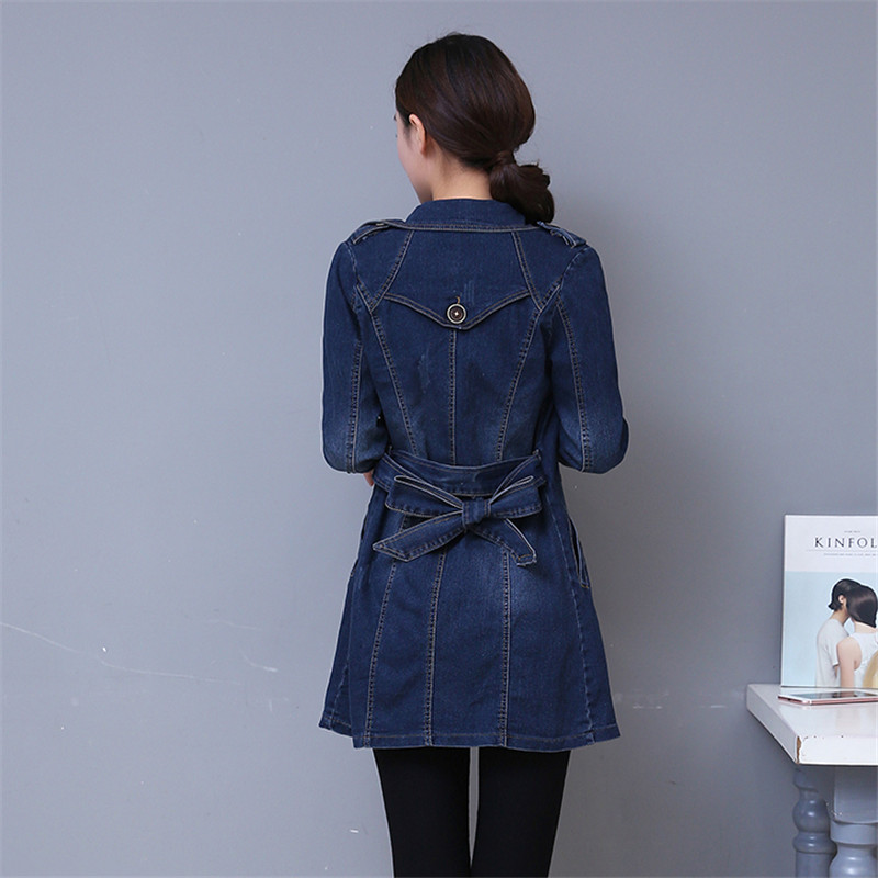 New 2019 Denim Jacket Long Women Double Breasted Jeans Coat Ladies Casual Slim Fit Plus Size M- 5XL Windbreaker Woman YH136