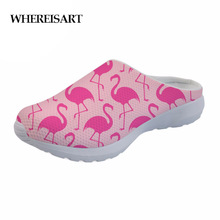 WHEREISART Flamingos Printed Women Sandals Summer Shoes 2019 Flip Flops Female Home for Girls Slippers Ladies Flat