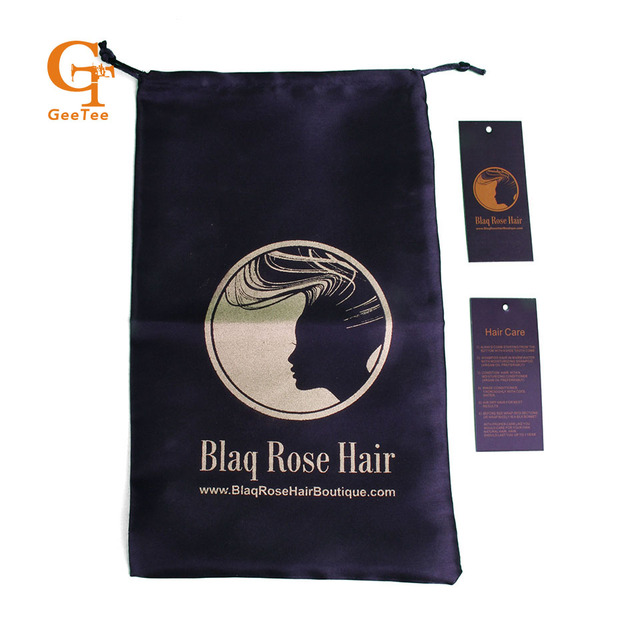 Custom Hair Extension Packaging Satin Silk Bags And Paper Swing Tags