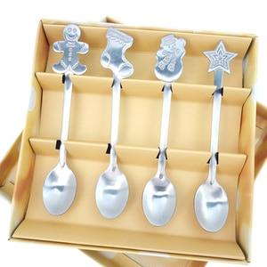 Image 2 - 4pcs Christmas Style Teaspoon Christmas Cutlery Flatware Decoration Accessories Stainless Steel Coffee Dessert Ice  Spoon