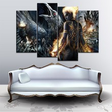 Framework Wall Art Painting HD Printed Modular Pictures 4 Panel Anjali Dungeon Siege 3 Canvas Game Poster Home Decoration