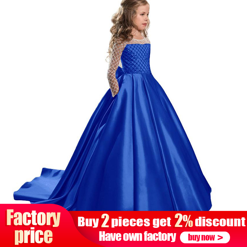 Retail Boutiques Embroidery Princess Evening Party Long Trailing   Dress   With Big Bow Sexy Elegant Pink   Flower     Girls     Dress   LP-204