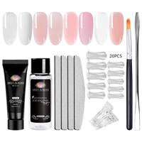 MEET ACROSS 20ml Poly Gel Set Quick Builder Extending Crystal Jelly Nail Kit Uv Gel French Nails Art Manicure Tip Decorations