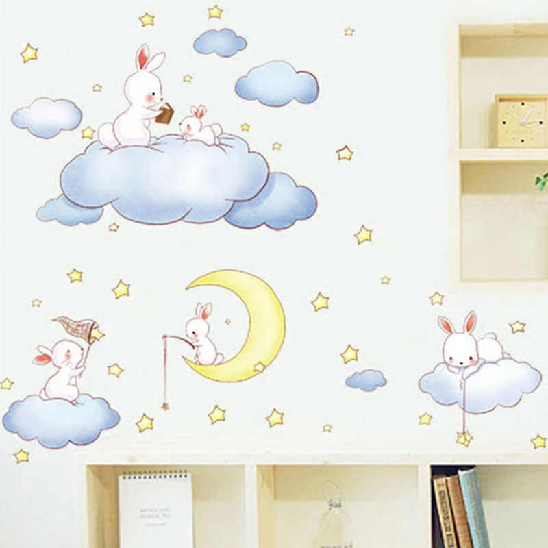 Cartoon White Clouds Cute Rabbit Wall Stickers For Kids Rooms Baby Bedroom Home Decor Moon And The Stars Wall Decals Living Room