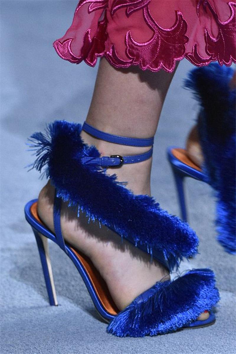 Frauen Zapatos As Peep Pic High Sexy Heels as Toe Gladiator Pumps Fringe Mujer Sandalen Party Schuhe Stilletos Mode Zeigen Hochzeit Pelz Pic Frau XHwxqfpTI