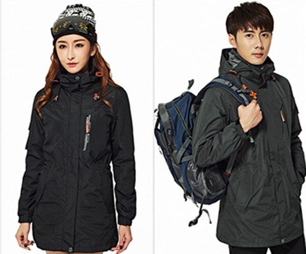 Extérieur grande taille offre spéciale 3 in1 imperméable coupe-vent hommes femmes veste couple respirant sports escalade camping ski amant manteau