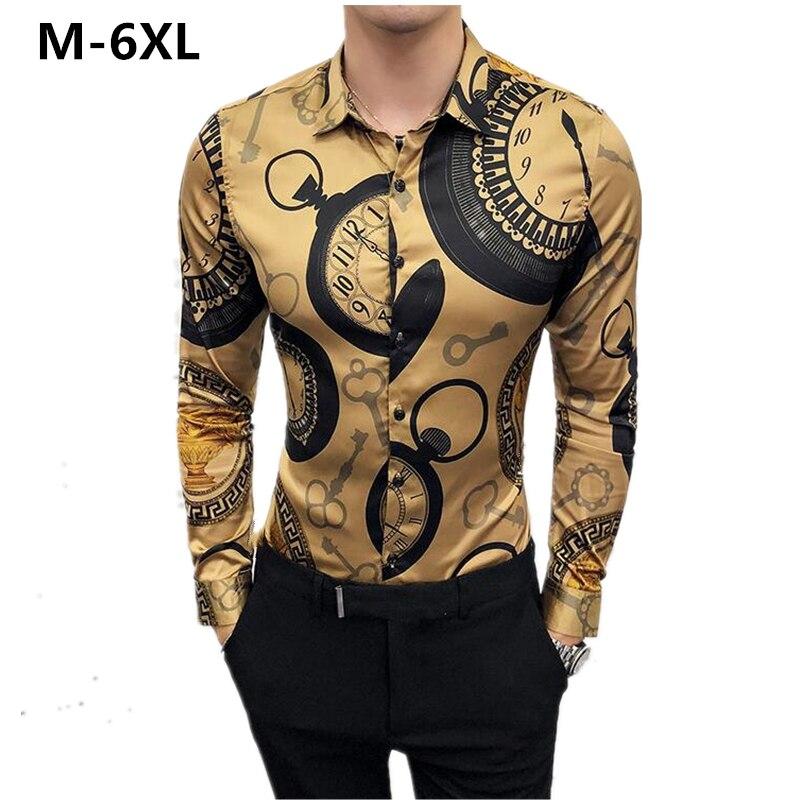 Large Size 6XL Men Shirt Fashion Club Clothing Mens Brand Designer Floral Printing Shirt Slim Long-Sleeved Baroque Party Shirt