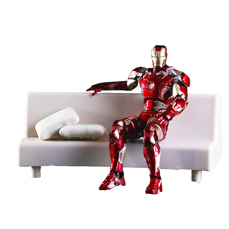 SHFiguarts Iron Man Mark 43 with Sofa PVC Action Figure Collectible Model Toy 15.5cm shf figuarts shfiguarts captain america pvc action figure collectible model toy 16cm