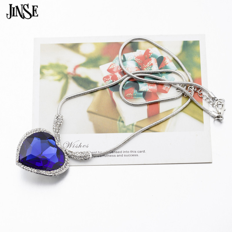 JINSE Woman Lady Movie Titanic Blue Crystal Glass Heart of Ocean Sweat Chain Heart Pendant Necklace Fashion Jewelry Accessory