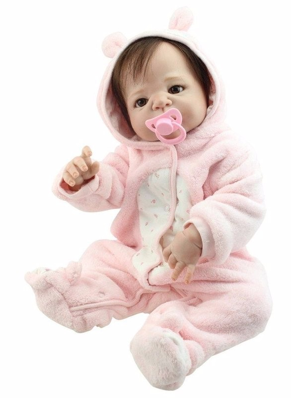 55cm Real Human Hair Reborn Baby Doll Full Body Silicone