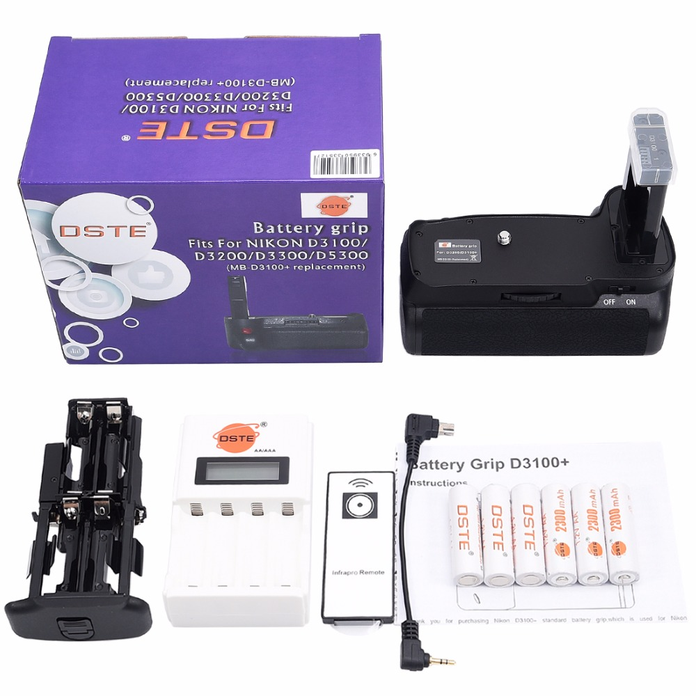 DSTE Battery Grip + Remote Control + Charger + 6 Rechargeable Batteries NI-MH AA Battery for Nikon D3100 D3200 D5300 D3300 dste 3pcs sl 360 ni mh battery for spectralink pts360 9031 mdw9030p mdw9031 ptb400 ptb710 ptb810 ptb81650