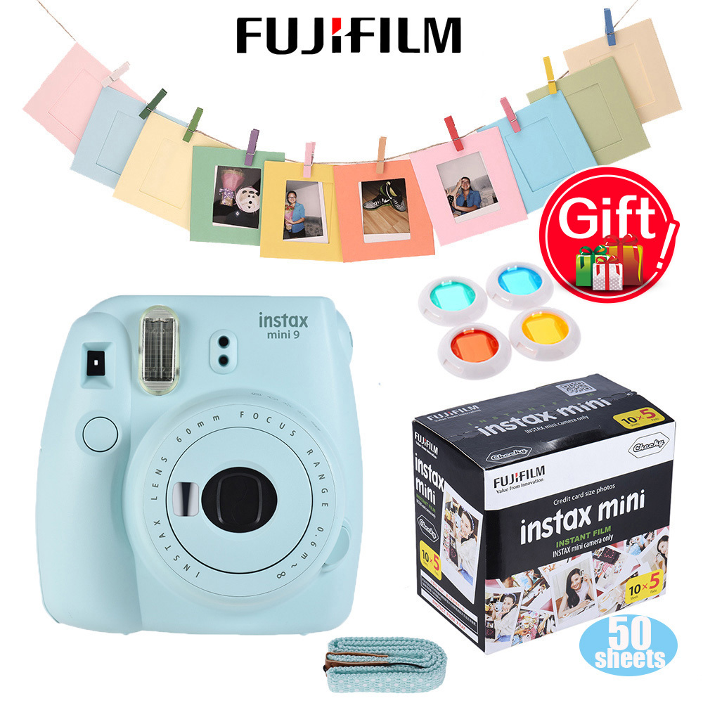 Fujifilm Instax Mini 8 Camera Kit Film Camera Photo Instant Camera with Lens Filter + 50 * Film + Photo Frame + Clip + String tassels pillow