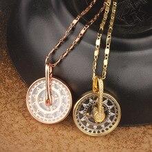 BeUrSelf стеклянный кулон ожерелье для Женская циркониевая микро ожерелье с камнями ювелирные изделия круглые золотистые бусины вращающийся Шарм ювелирные изделия