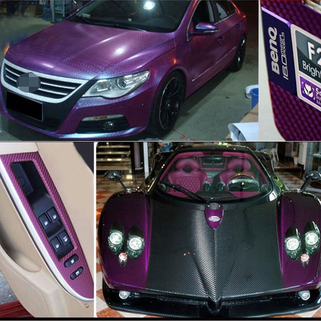 1 unids p rpura 3d accesorios del coche interior del panel de fibra de carbono pel cula del - Accesorios coche interior ...