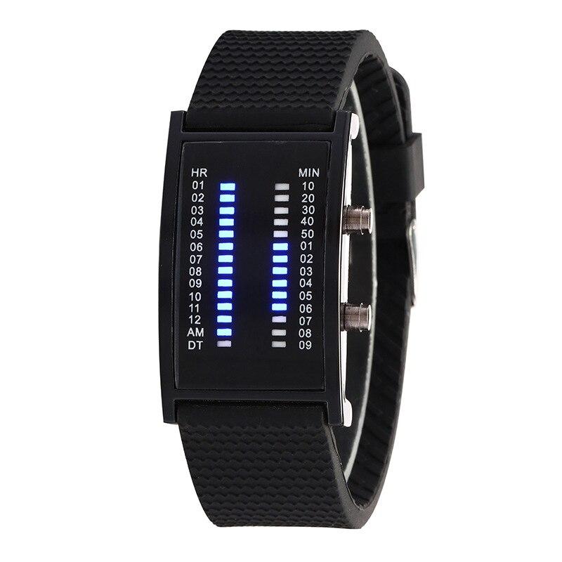 Luxury Lovers Wristwatch Waterproof Men Women Rubber Strap Blue Binary Luminous LED Electronic Display Sport Watches Fashion