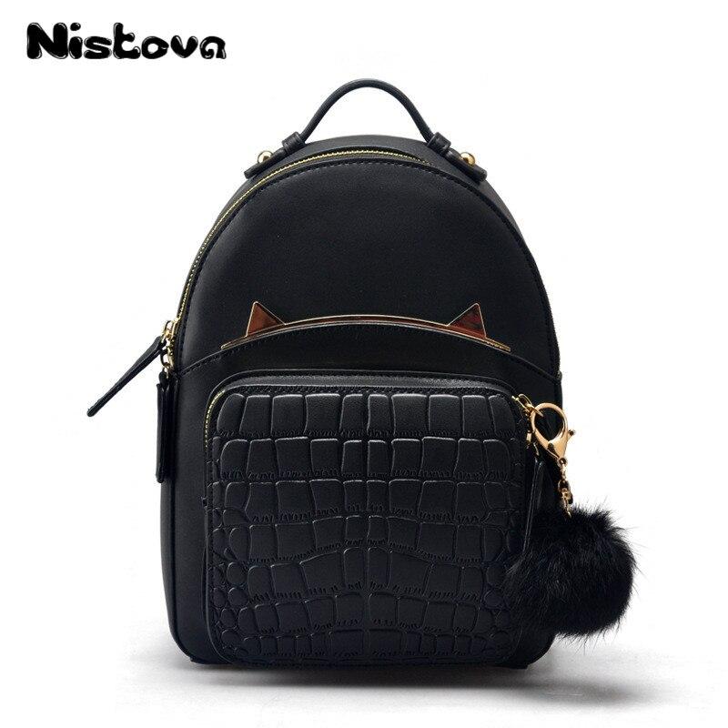 Mignon chat oreille sac à dos sac à main pour les femmes réel en cuir véritable mode voyage multifonctionnel bandoulière dames épaule sac d'école