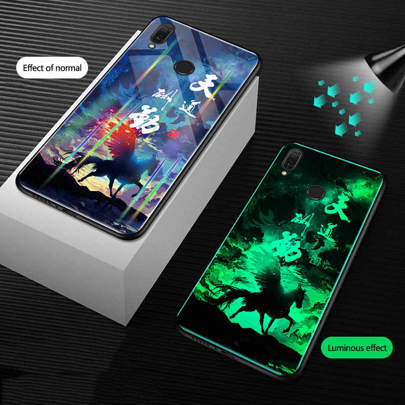 Aurora Luminous Glass Case For huawei P30 P20 Mate 20 Pro P10 Lite Cover For Honor 20 10 9 Lite 8X 8A 8C 7X V20 PLAY Phone case