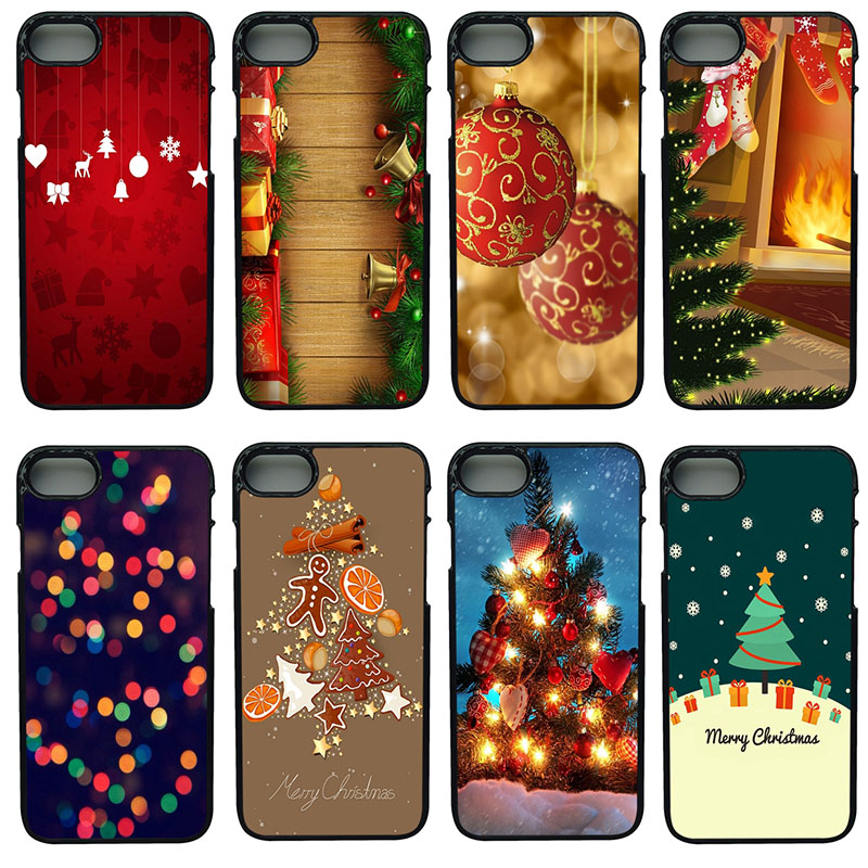 Merry Christmas Pattern Cell Phone Cases Hard Plastic Shell Phone Cover for iphone 8 7 6 6S PLUS X 5S 5C 5 SE iPod Touch 4 5 6