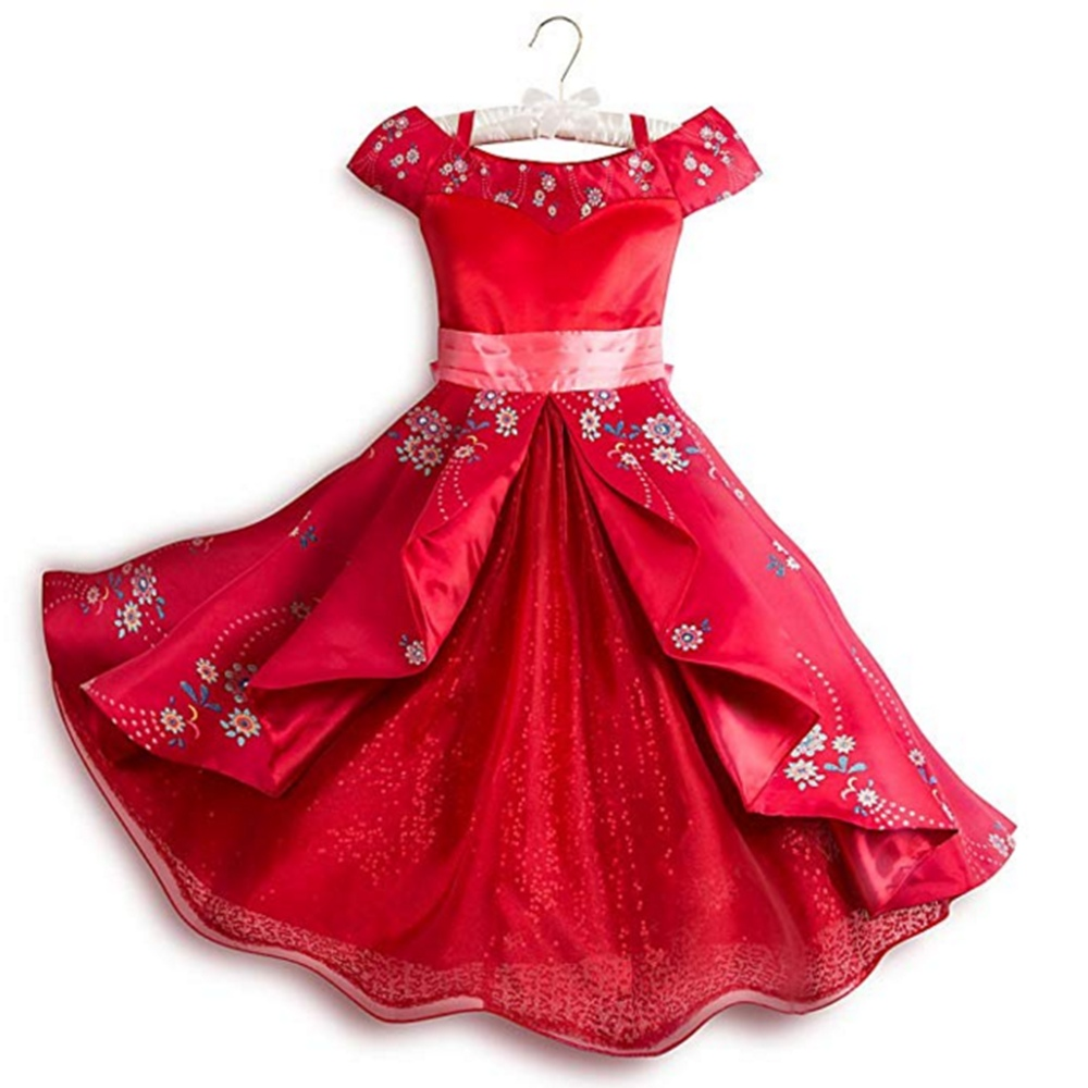 Cosplay Costume Clothing Dresses Fantasy Avalor Off-Shoulder Little-Girls Princess Elena